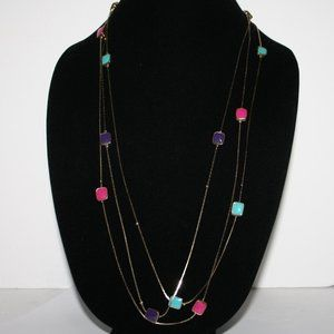 """Vintage gold and colorful necklace 42"""" long"""
